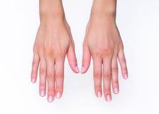 Mani della donna che affrontano giù Fotografie Stock Libere da Diritti