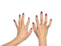 Mani della donna che scrivono sulla tastiera di computer immaginaria Immagine Stock