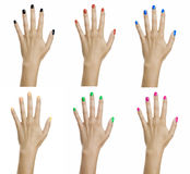Mani della donna con lo smalto per unghie variopinto Fotografia Stock