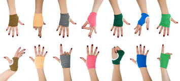 Mani della donna in guanti Immagini Stock Libere da Diritti