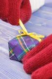 Mani della donna in guanti che disimballano regalo per il Natale o l'altra celebrazione Fotografia Stock