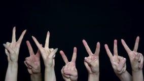 Mani della folla con il segno della vittoria Il primo piano di molte mani con i pugni si è alzato su poi è cambiato per firmare d stock footage
