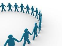 Mani della holding della gente in un grande cerchio Fotografia Stock Libera da Diritti