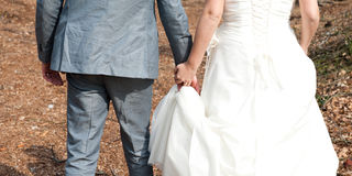 Mani della holding dello sposo e della sposa Immagine Stock Libera da Diritti