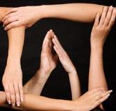 Mani della pagina con le mani delle coppie Immagini Stock Libere da Diritti