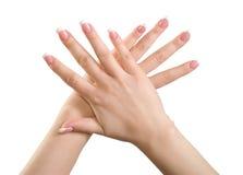 Mani della ragazza. Fotografia Stock