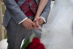 Mani della sposa e dello sposo con gli anelli di cerimonia nuziale fotografie stock libere da diritti
