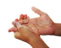 Mani dello sfregamento in sapone Fotografia Stock
