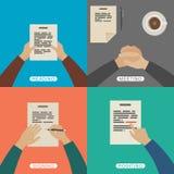 Mani di affari nello stile piano illustrazione vettoriale
