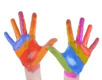 Mani di arte del bambino verniciate su priorità bassa bianca Fotografia Stock Libera da Diritti