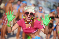 Mani di colori Fotografie Stock Libere da Diritti