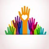 Mani di colori su Fotografie Stock