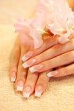 Mani di giovane donna con il manicure francese Fotografie Stock Libere da Diritti