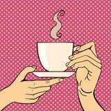 Mani di Pop art con l'illustrazione di vettore della tazza di caffè Fotografie Stock Libere da Diritti