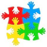 Mani di puzzle Immagini Stock