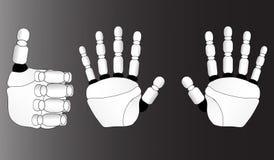 Mani di un robot su un fondo grigio Fotografia Stock Libera da Diritti
