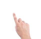 Mani di un uomo che mostra numero uno, dito indice sul backgro bianco Immagini Stock