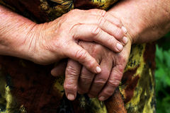 Mani di una donna anziana Fotografia Stock