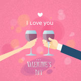 Mani di Valentine Day Greeting Toast Two Fotografia Stock Libera da Diritti