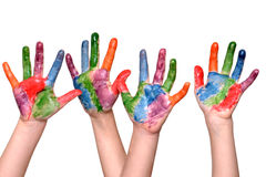 Mani dipinte dei bambini Fotografia Stock