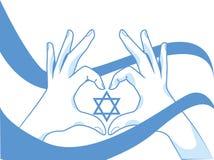 Mani e bandiera con Magen David Fotografie Stock