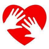 Mani e cuore Immagini Stock