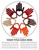 Mani e disegno uniti dei cuori. Fotografia Stock Libera da Diritti