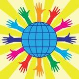 Mani e globo del mondo Fotografie Stock