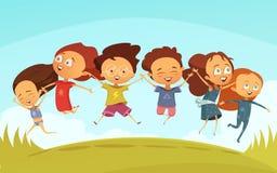 Mani e salto di Team Of Cheerful Friends Holding illustrazione vettoriale