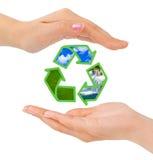 Mani e segno di riciclaggio Immagini Stock Libere da Diritti