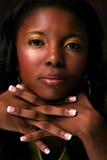 Mani e viso di modello Fotografie Stock Libere da Diritti