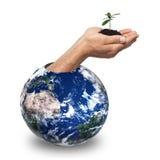 Mani ecologiche da terra Fotografie Stock Libere da Diritti