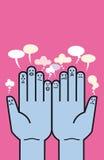 Mani ed Emoticons Fotografia Stock