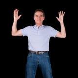 Mani emozionanti felici dell'uomo sollevate in aria Fotografia Stock