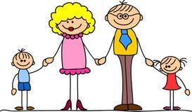 Mani felici della holding della famiglia e vettore sorridente Fotografia Stock Libera da Diritti