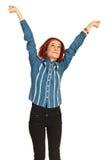 Mani felici di allungamento della donna di affari Fotografie Stock Libere da Diritti