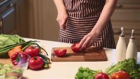 Mani femminili che affettano pomodoro rosso stock footage