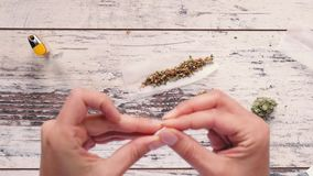 Mani femminili che preparano filtro per il giunto della marijuana stock footage