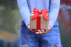 Mani femminili che tengono il contenitore di regalo con il nastro rosso per il Natale ed il primo dell'anno o che accolgono stagi immagine stock libera da diritti