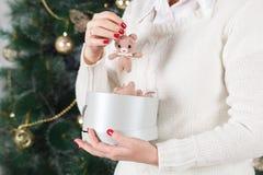Mani femminili che tengono molte scatole con i presente per il Natale Concetto del `s di nuovo anno fotografia stock libera da diritti