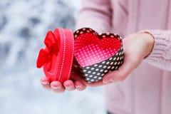 Mani femminili che tengono un contenitore di regalo Fotografie Stock Libere da Diritti