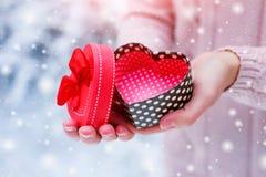 Mani femminili che tengono un contenitore di regalo Immagini Stock