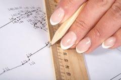 Mani femminili con un righello e una matita Fotografie Stock