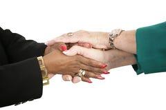 Mani femminili della holding della squadra di affari Fotografia Stock Libera da Diritti