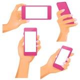 Mani femminili nello stile realistico con i telefoni in loro Illustrazione Vettoriale