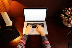 Mani femminili per mezzo del computer portatile Fotografie Stock Libere da Diritti