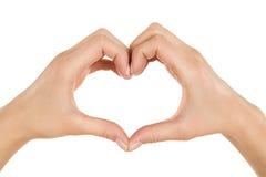 Mani a forma di del cuore Fotografie Stock
