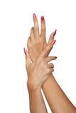 Mani graziose della donna Fotografie Stock Libere da Diritti