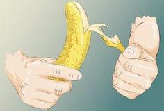 Mani illustrate imprecise che sbucciano una banana Fotografie Stock