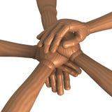 Mani impilate, spirito di gruppo, da sopra Immagini Stock